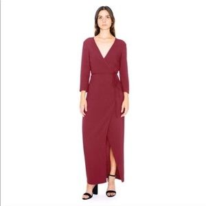 American Apparel Julliard Wrap Dress Burgendy